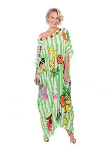 The Green & White Striped Portrait Kaftan