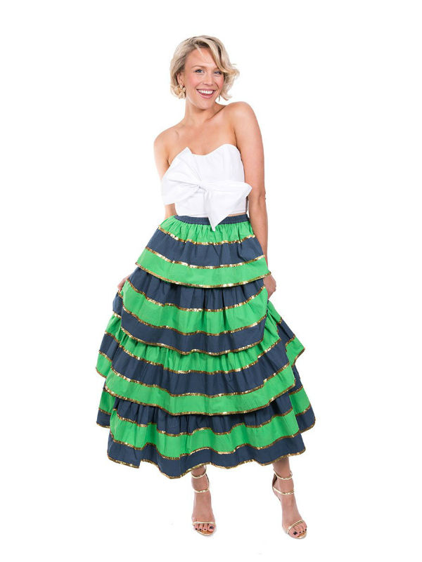 The Navy and Green Imperial Ruffle Skirt
