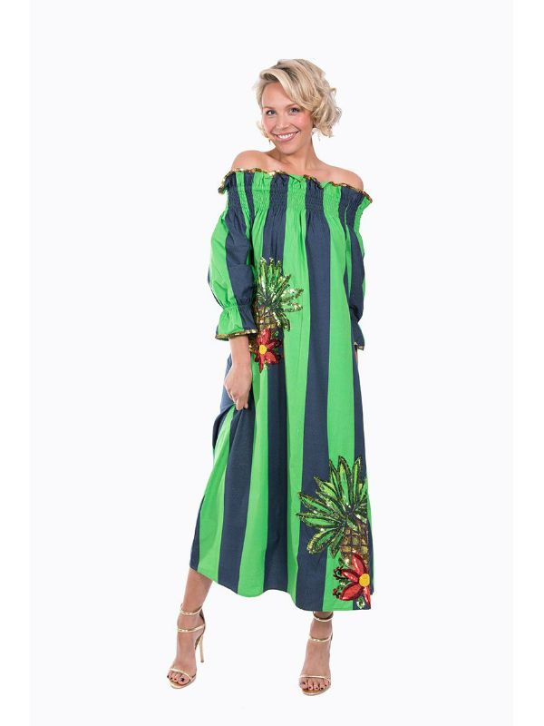 The Navy and Green Imperial Tropicana Dress