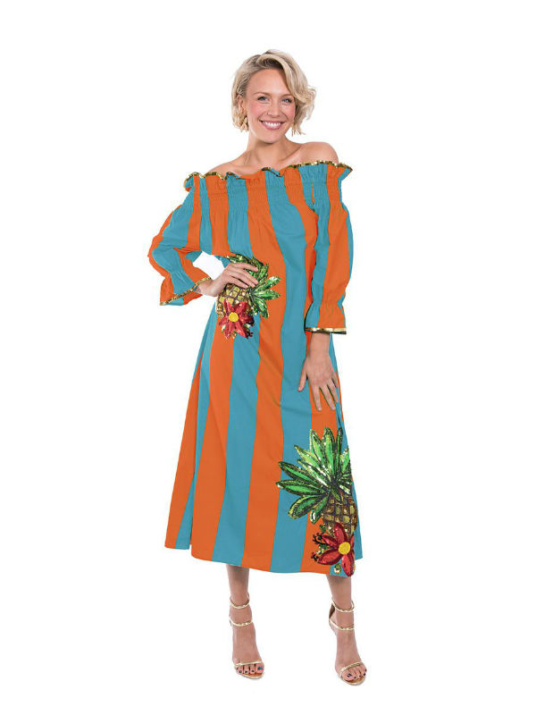 The Turqoise and Orange Imperial Tropicana Dress