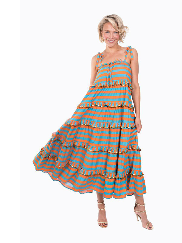 The Turquoise and Orange Scalloped Imperial Dress