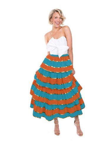 The Turquoise and Orange Imperial Ruffle Skirt