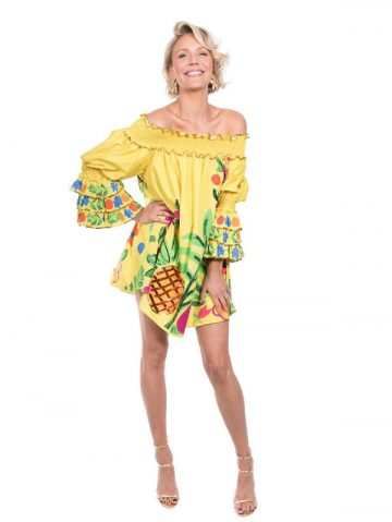 The Yellow Tropical Valley Ruffle Top