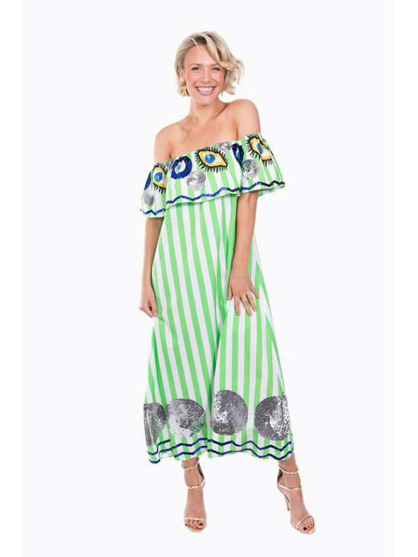 The Green & White Striped Evil Eye Off the Shoulder Dress