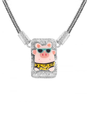 Taratata Taraboum Pigs at the Beach Necklace T19-50102-10M