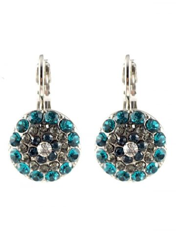 Mystique Nightfall earrings are layered in 18-carat Rose Gold or Rhodium (silver) featuring Swarovski Crystals: Aquamarine, Black Diamond, Indicolite, Multicolour Czech Crystal, Montana Blue, Light Turquoise and Clear.