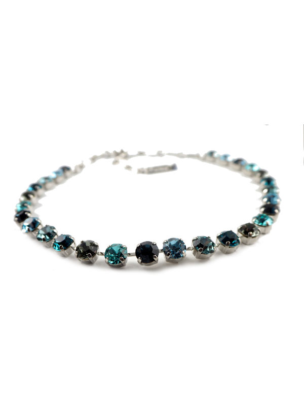 Mystique Nightfall necklaces are layered in 18-carat Rose Gold or Rhodium (silver) featuring Swarovski Crystals: Aquamarine, Black Diamond, Indicolite, Multicolour Czech Crystal, Montana Blue, Light Turquoise and Clear.