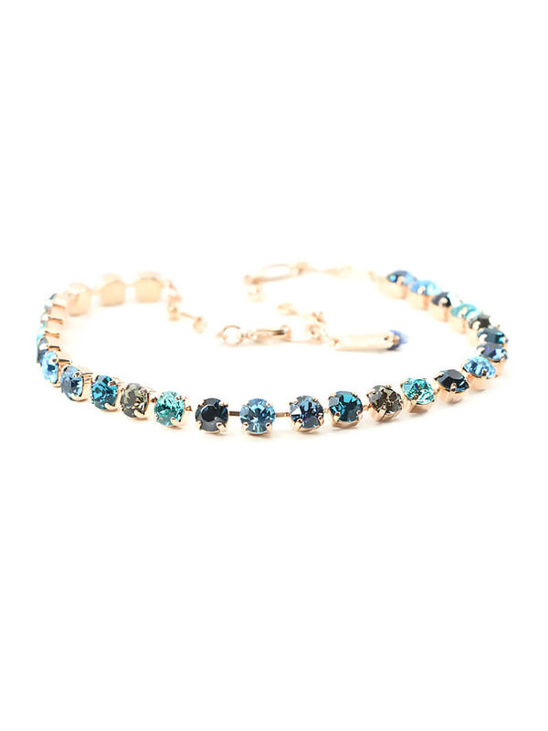 Mystique Nightfall Necklaces are layered in 18-carat Rose Gold featuring Swarovski Crystals: Aquamarine, Black Diamond, Indicolite, Multicolour Czech Crystal, Montana Blue, Light Turquoise and Clear.