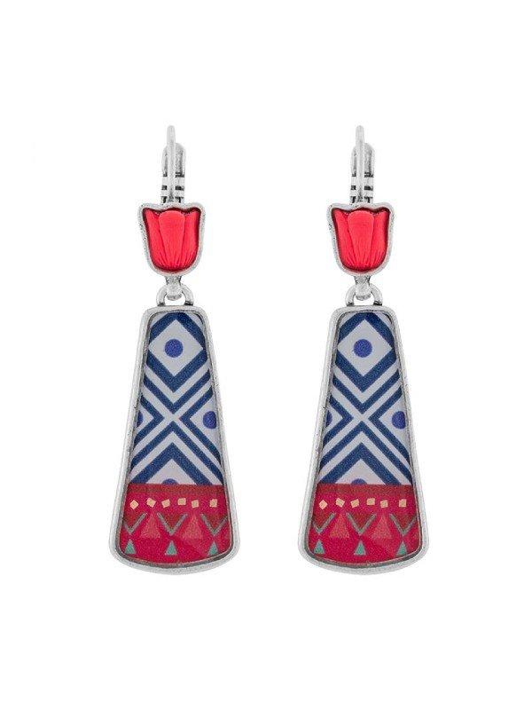 Fanfan is a delightful collection from Taratata Bijoux with fluoro pink and orange tulips set in silver coloured metal. The setting is complemented with cobalt geometric shape representing a patterned vase with red trim. An uplifting design.