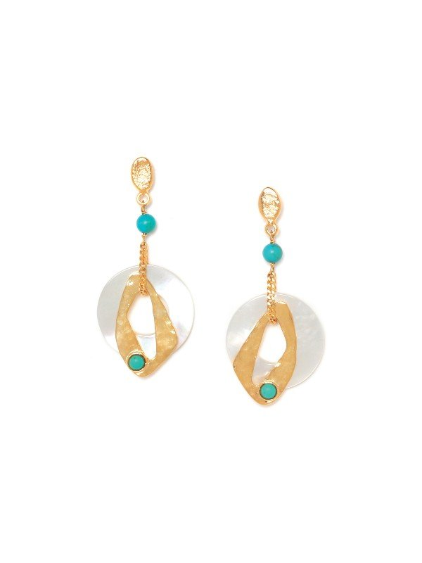Franck Herval's Ines Collection jewellery is adorned with Mother of Pearl, howlite and pearl. Drop setting with round circular mother of pearl hoops overlaid with contemporary gold hoops and highlighted with aqua coloured howlite. Stud setting, 4.5cm in length.