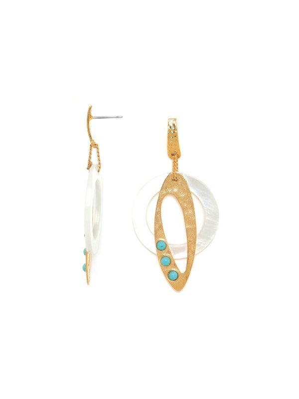 Franck Herval's Ines Collection jewellery is adorned with Mother of Pearl, howlite and pearl. Set with oval gold and mother of pearl oval hoops, these earrings are a post setting, 6cm in length.