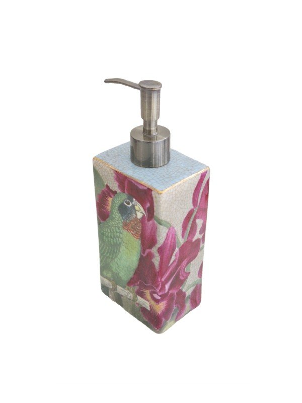 Classic green parrot with pink tropical flowers form the artwork on this ceramic Savon Dispenser from Creatively Active Minds.