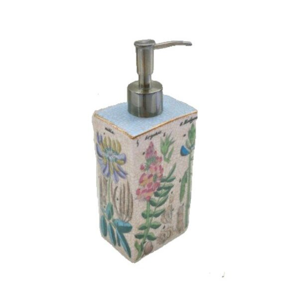 Such an enchanting botanical design from Creatively Active Minds. Using their trademark crackle design, the glaze on this porcelain soap dispenser with pump depicts ferns and flowers in a typical old world style.