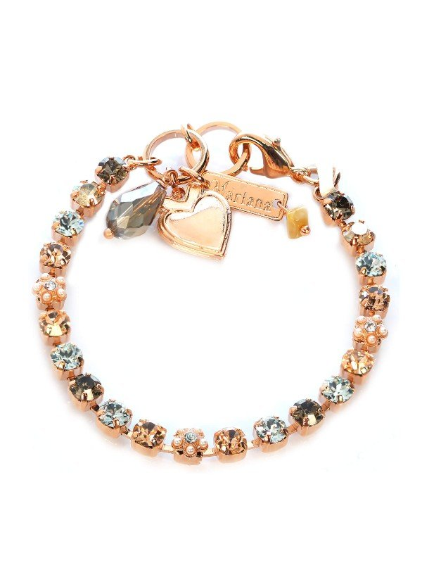 Neutral tones featuring amber, ice blue and charcoal Swarovski crystals, highlighted with the lustre of synthetic pearls. The richness of Rose gold plating and parrot clasp. 18cm in length. Collection: Moonlight and Magnolias.