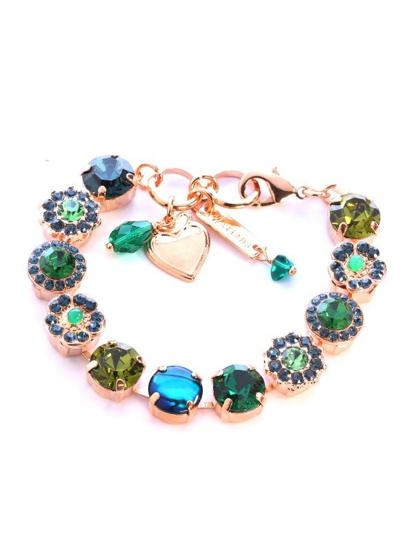 Sultry deep dark green and navy Swarovski crystals have been used by Mariana in the Atlantis-under the Sea Collection. 18cm, parrot clasp bracelet with rose gold plated metal.