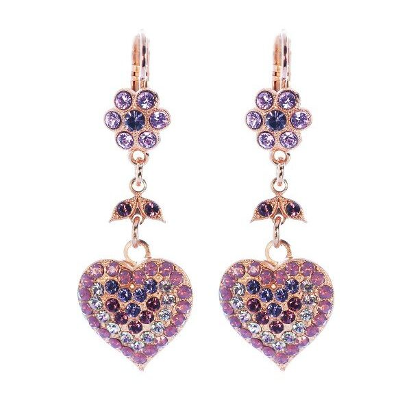 Outstanding purple collection named Misty Mountains includes Swarovski crystals from haunting mauve to the richness of deep purple. Heart shaped, dangle setting measuring 5cm in length. Misty Mountains Collection from Mariana.