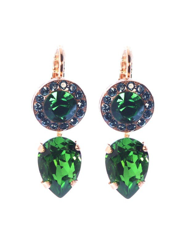 Sultry deep dark green and navy Swarovski crystals have been used by Mariana in the Atlantis-Under the Sea Collection. These earrings measure 3.5cm, are set using French hooks. The crystals are a circular setting on top - a larger green crystal encircled with navy crystals and a large inverted emerald green teardrop crystal. Measures 3.5cm with Rose Gold plating.