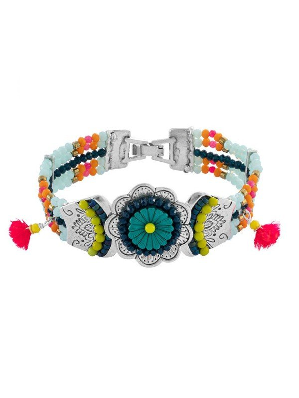 Stunning fashion collection from the designer of Taratata Bijoux jewellery. Handcrafted, bright and cheerful beading co-ordinated with mini red pompoms and a turquoise floral pattern.
