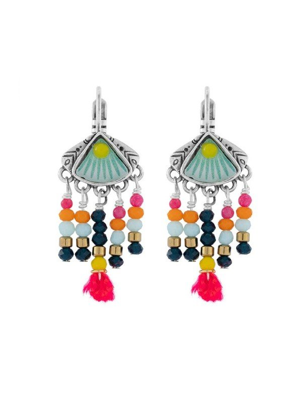 Stunning fashion collection from the designer of Taratata Bijoux jewellery. Handcrafted, bright and cheerful beading co-ordinated with mini red pompoms and a turquoise floral pattern. Leverback setting, 3cm long.