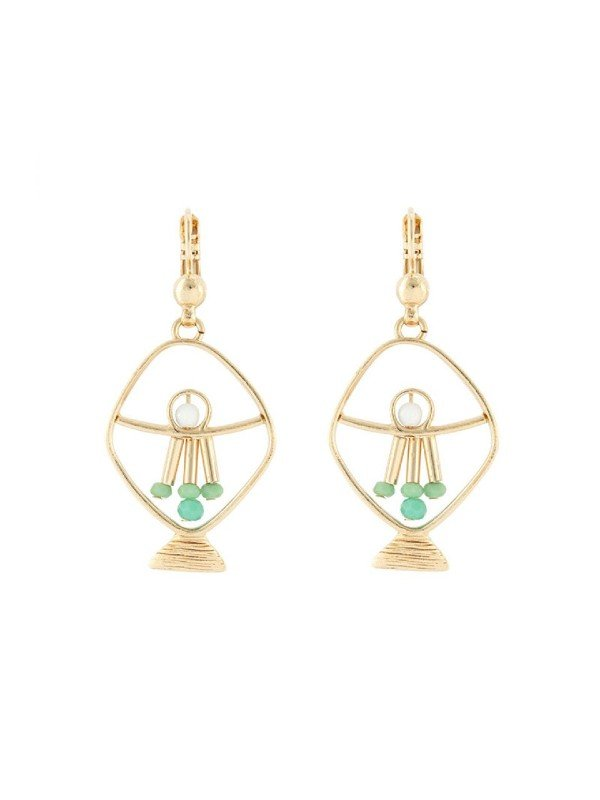 The Poseidon Collection from Taratata Bijoux is distinguished by its gold coloured metal formed in the silhouette of a fish and trimmed with seafoam coloured glass beads.