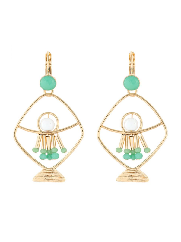 The Poseidon Collection from Taratata Bijoux is distinguished by its gold coloured metal formed in the silhouette of a fish and trimmed with turquoise coloured glass beads.French hook setting, 5 cm long.