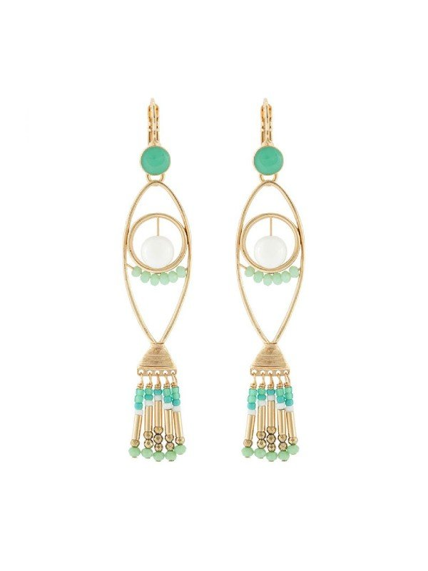 The Poseidon Collection from Taratata Bijoux is distinguished by its gold coloured metal formed in the silhouette of a fish and trimmed with turquoise and gold coloured glass beads as the fish tail.French hook setting, 7.5cm long.