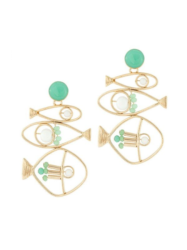 The Poseidon Collection from Taratata Bijoux is distinguished by its gold coloured metal formed in the silhouette of a fish and trimmed with turquoise coloured glass beads.  Set as a group of three fish placed horizontally on each earring.  Stud setting, 5.4cm long