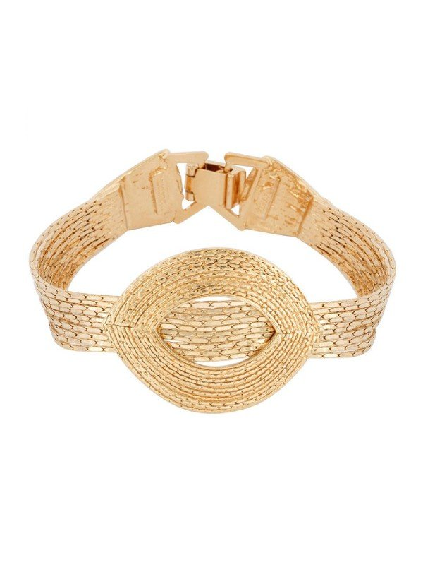 Taratata's Caprice Collection bracelet comprises a substantial gold coloured metal oval design and a thick band.