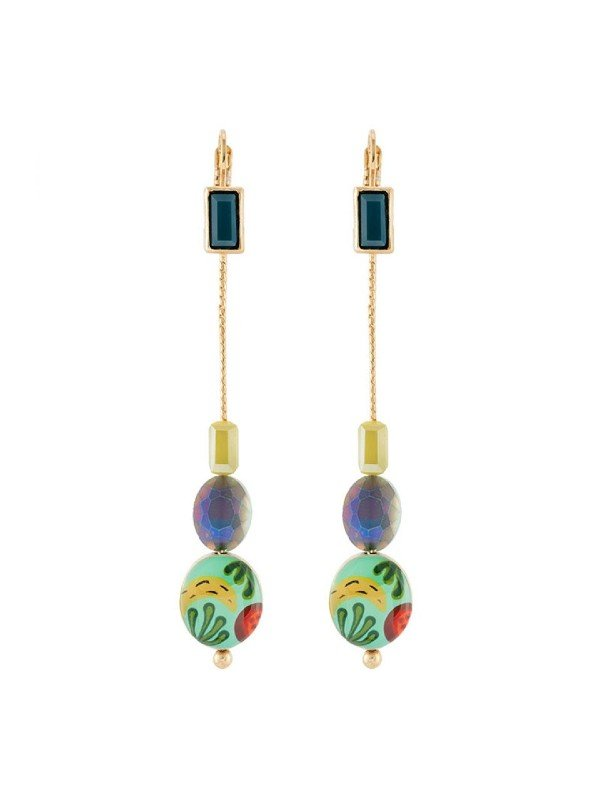 Taratata Bijoux's Banane earrings include colourful, handpainted designs trimmed with dark blue/green, lemon and mid-blue coloured glass beads. Vibrant and colourful. Drop earrings 7.2cm in length.