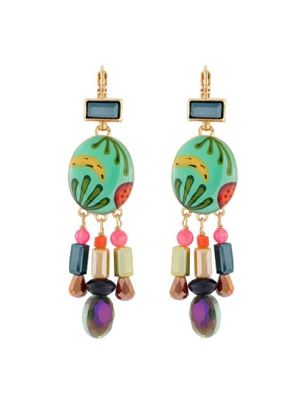 Taratata Bijoux's Banane earrings include colourful, handpainted designs trimmed with multi coloured glass beads that dangle on the bottom of the setting. Vibrant turquoise features in the resin hand painted pattern. Drop earrings 6.5cm in length.