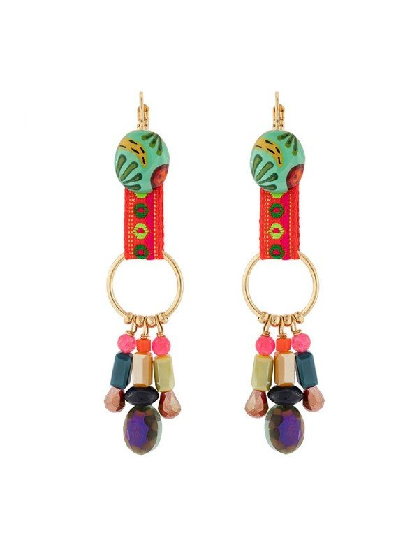 Taratata Bijoux's Banane earrings include colourful, handpainted designs trimmed with multi coloured glass beads that dangle on the bottom of the setting. Vibrant turquoise features in the resin hand painted pattern combined with textile patterned ribbon. Drop earrings 7.2cm in length.