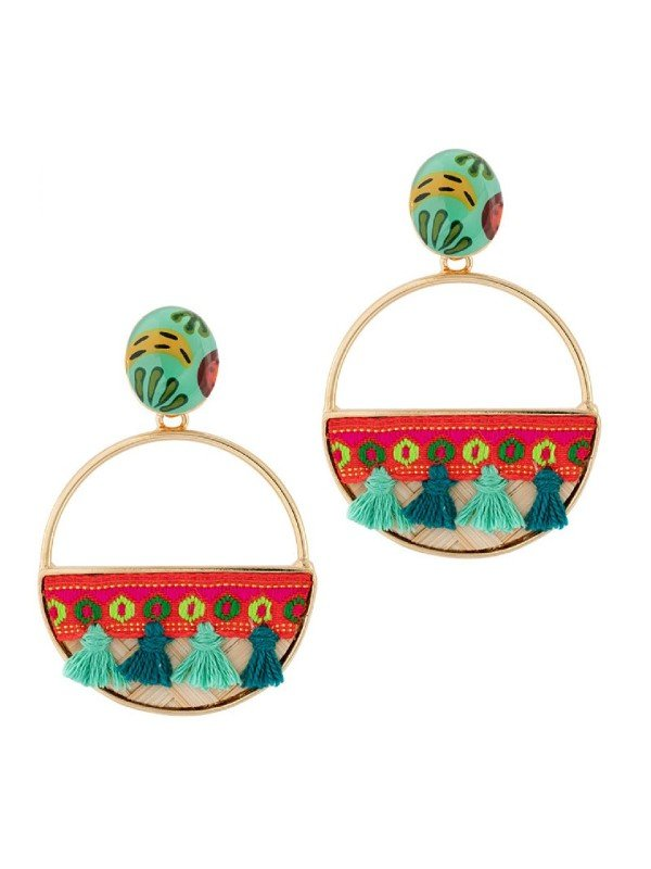 Taratata Bijoux's Banane earrings have been created using colourful, handpainted designs trimmed with multi coloured pompoms set on red textile ribbon within large hoops. Vibrant turquoise features in the resin hand painted pattern. Drop earrings 5.5cm in length. Studs.