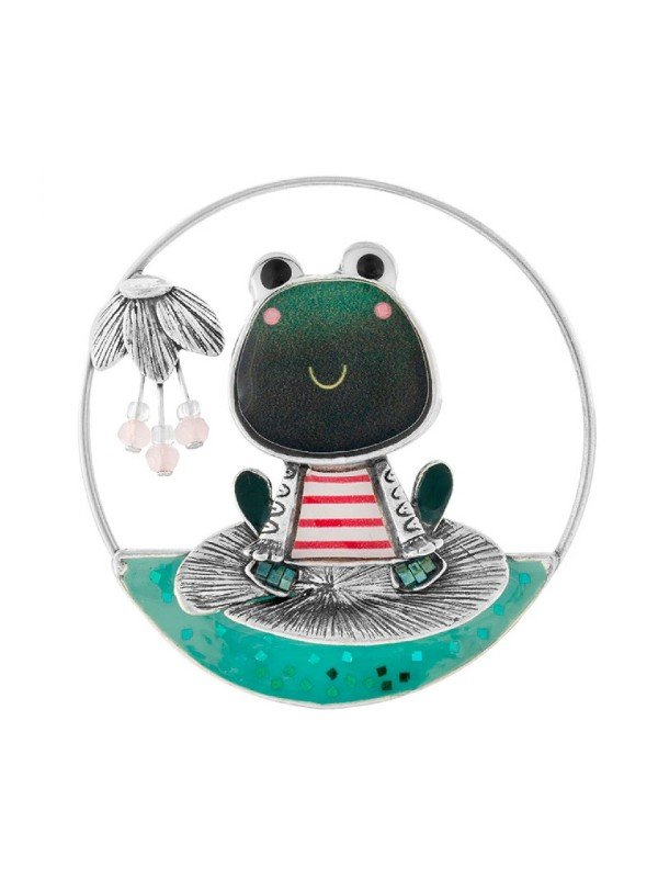 Comic green frog wearing French classic red and white stripe t-shirt. Named Romeo, this is a classic quirky collection, typical of Taratata Bijoux's design. Silver coloured metal brooch bracelet 4.5cm diameter