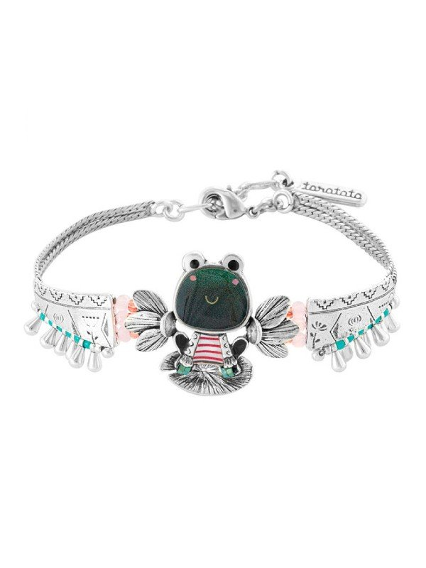 Comic green frog wearing French classic red and white stripe t-shirt. Named Romeo, this is a classic quirky collection, typical of Taratata Bijoux's design. Silver coloured metal adjustable bracelet 18-19.5cm.