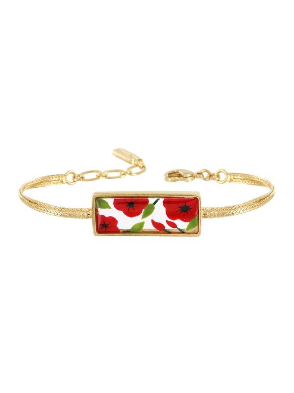 Taratata's Bijoux Galerie collection is striking for its hand-painted red poppies with green leaves on a white background set in resin. Metal is gold coloured.