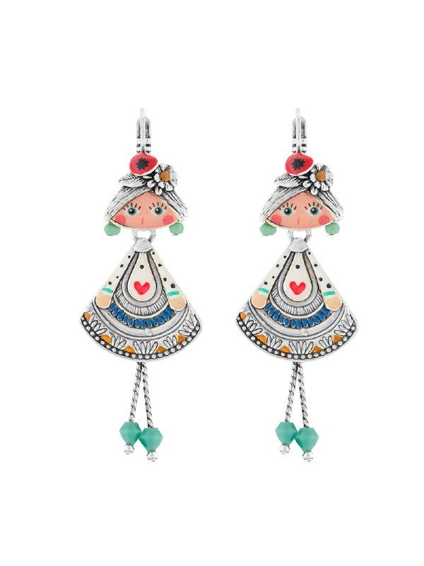Taratata Bijoux Sissi Collection features a quaint girl with flowers in her hair, a tiered dress turquoise and blue dress with red heart motif, and with legs dangling.