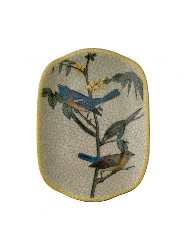 Creatively Active Minds Savon Dish featuring three birds on a small twig with leaves. Yellow glazed rim on antique white crackle background. A very loveable design. Pleate measures 17 x 13 cm.