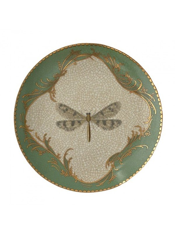 Suitable as a wall plate for freestanding, this plate features a dragonfly centrepiece in the design with a verde green and gold border. Round measuring 20.5cm diameter. Not for food. Decorative only.