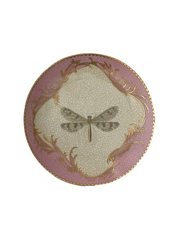 Suitable as a wall plate for freestanding, this plate features a dragonfly centrepiece in the design with a musky pink and gold border. Round measuring 20.5cm diameter. Not for food. Decorative only.