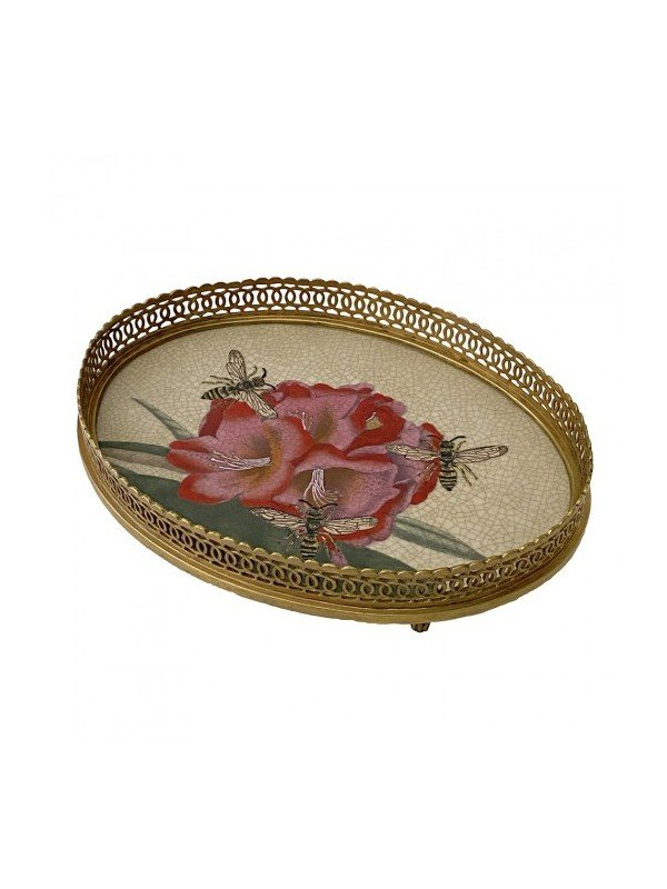 Charming brass and porcelain tray that measures 25 x 19 x 5cm. Porcelain base artwork consists of pink tiger lilies with bees and green leaves. Filigree brass edge is superb.