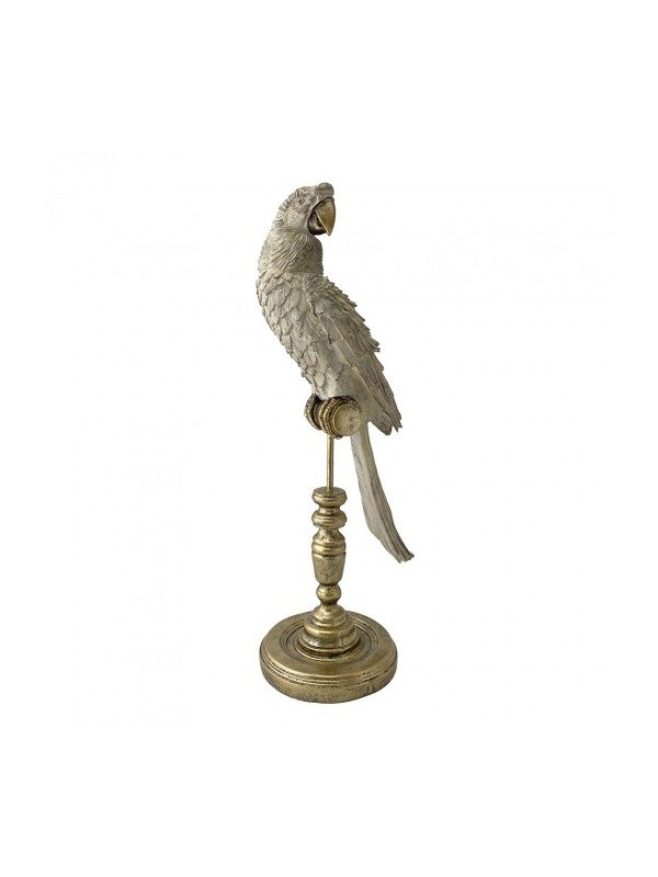 Designed by Creatively Active Minds, this home decor delight is a must. White Parrot on Gold stand. Measures 17 x 14 x 45cm.