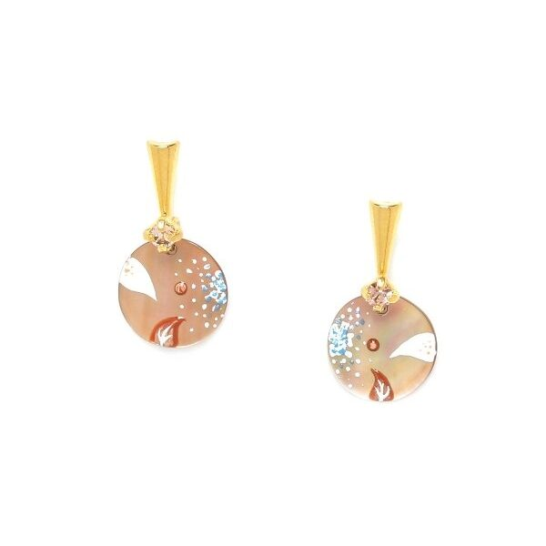 Valorine Collection from the House of Franck Herval is perfect resort or casual wear jewellery. A brown lip shell disc has been hand painted with a tropical floral design of white and teal flowers with rust leaves.