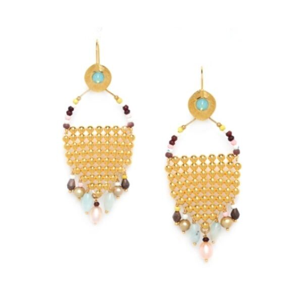 Franck Herval's Helen Earrings contains elements of amazonite, bone, pearl, hematite, poppy jasper, howlite and swarovski. Set in gold coloured metal, this ornate Grecian influenced design contacts colours of pastel pink, turquoise, lime, chocolate and musk.
