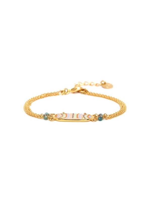 African inspired Jahia Collection from Franck Herval contains elements of agate, capiz shell, fresh water pearl and hematite. Delicate handpainted artwork in pastel colours are set with metal tassels and beading, and co-ordinated with gold coloured metal. An enchanting range.