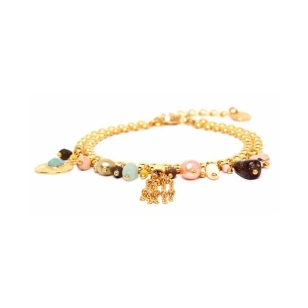 The multi dangle bracelet from Franck Herval's Helen Collection contains elements of amazonite, bone, pearl, hematite, poppy jasper, howlite and swarovski. Set in gold coloured metal, this ornate Grecian influenced design contacts colours of pastel pink, turquoise, lime, chocolate and musk.