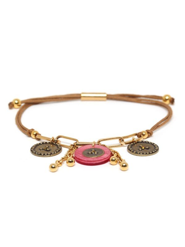 Franck Herval's Scarlett Collection jewellery comprises elements of Capiz Seashell and Swarovski. It is guaranteed nickel and lead free. An adjustable bracelet whose length is 25cm.