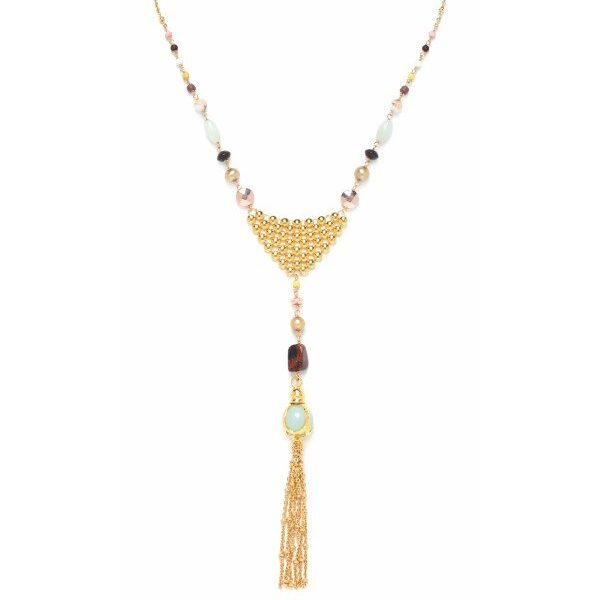 Franck Herval's Helen Pendant Necklace contains elements of amazonite, bone, pearl, hematite, poppy jasper, howlite and swarovski. Set in gold coloured metal, this ornate Grecian influenced design contacts colours of pastel pink, turquoise, lime, chocolate and musk.