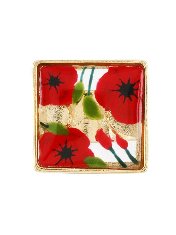 Taratata's Bijoux Galerie collection is striking for its hand-painted red poppies with green leaves on a white background set in resin. Metal is gold coloured. Adjustable Ring