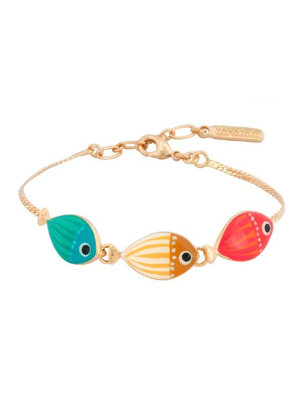 An adorable collection from Taratata Bijoux. Titled Bubble, the feature are three comic fish in turquoise, yellow and red. Metal is gold coloured and length 17.5 extendable to 20cm.