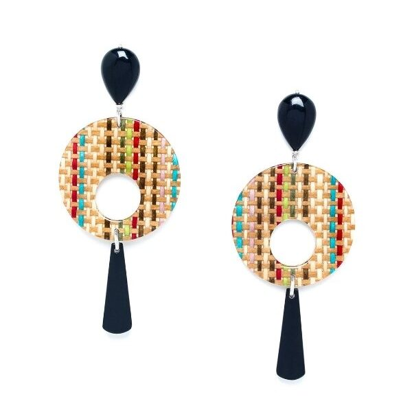 The Kimono Collection from Nature Bijoux comprises a bamboo weave in natural, white, red, turquoise and green overlaid with clear resin and co-ordinated with silver coloured metal. Nature Bijoux jewellery is guaranteed nickel and lead free.